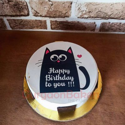 Purrfect Birthday Cake Top View