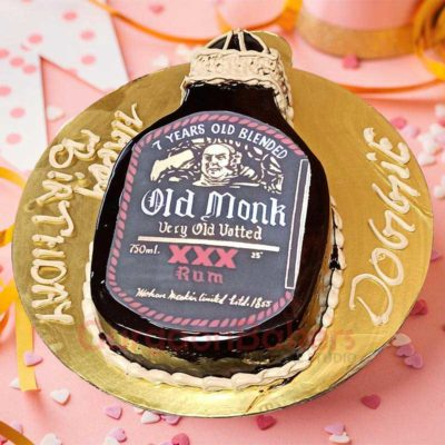 Realistic Old Monk Cake Side View