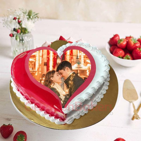 Romantic Red Heart Cake Top View