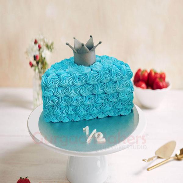 Royal Blue Half Birthday Cake