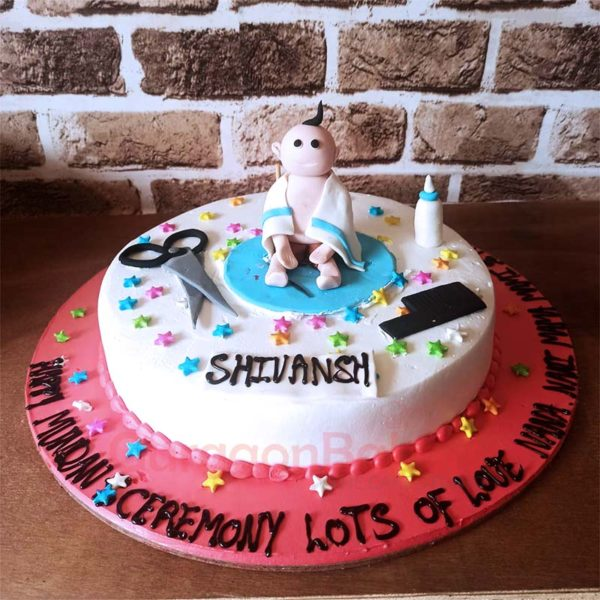 Snip Snip First Haircut Cake Front View