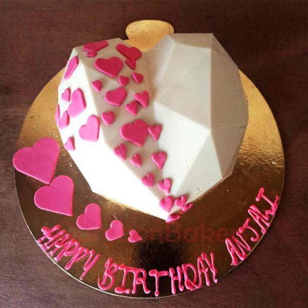 White Chocolate Heart Pinata Cake Top View