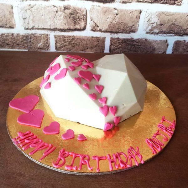 White Chocolate Heart Pinata Cake Front View