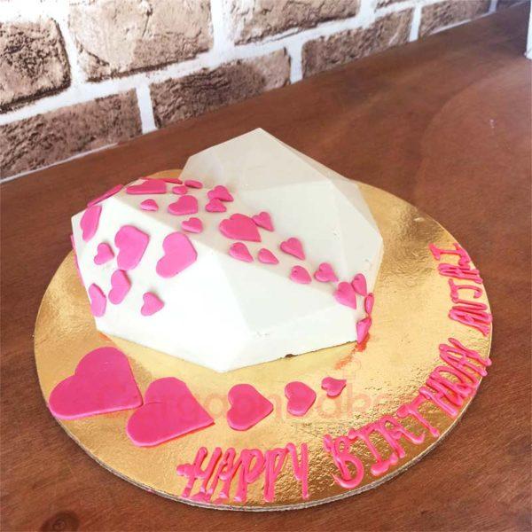 White Chocolate Heart Pinata Cake Side View