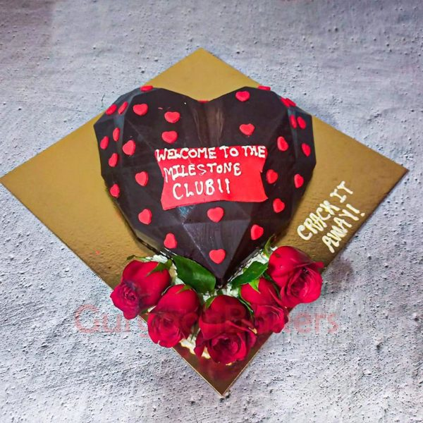 3D Pinata Chocolate Heart Cake Front View
