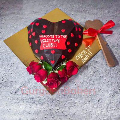 3D Pinata Chocolate Heart Cake Top View