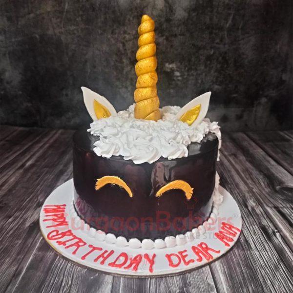 Mystical Dark Unicorn Cake Front view