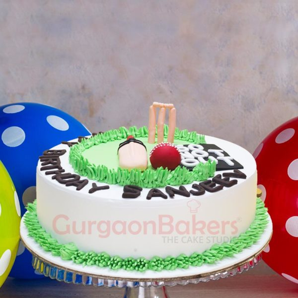 Cricket Pitch Cake front