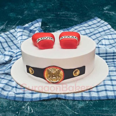 Kick Boxing Red Gloves Cake front