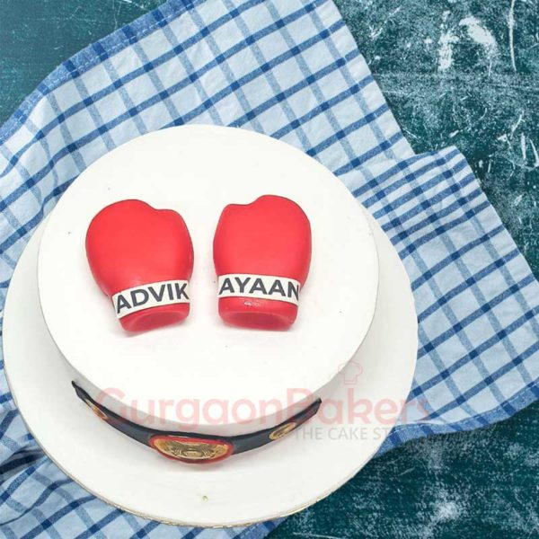 Kick Boxing Red Gloves Cake top