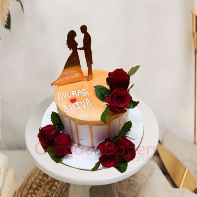 Mr and Mrs Silhouette Cake
