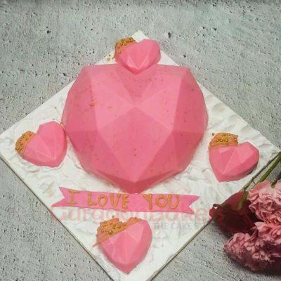 Pink Geode Heart Pinata Cake Set Top