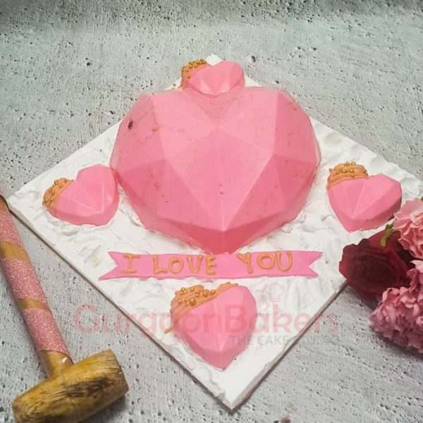 Pink Geode Heart Pinata Cake Set Front