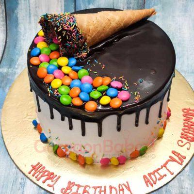 Ice-cream Cone & Gems Cake Front View
