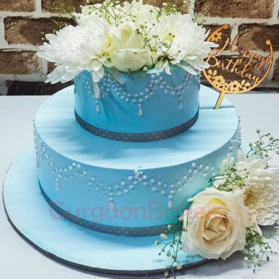 Tiffany Blue 2-Tier Cake Front